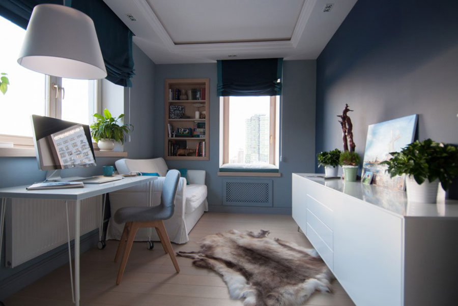 light blue wall with white furnitures for home office
