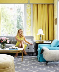 living room interior with yellow curtains