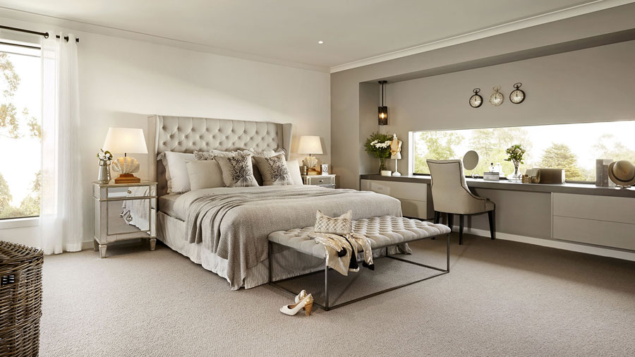 Cream Bedroom Decor: Visualization For Family House With Cream Color Interior In Greenvale, Australia