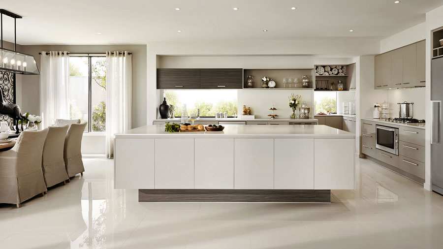 Modern House Kitchen Design In White With Brown And Beige