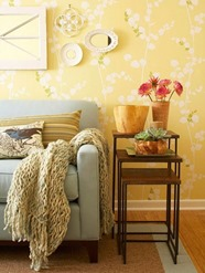 mustard yellow interior for living room