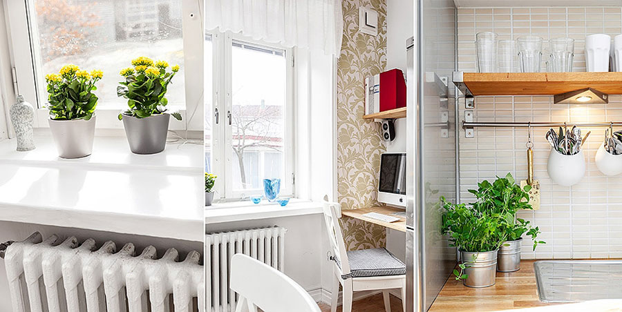 small office corner in kitchen for swedish apartment