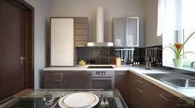 small kitchen design brown with cream