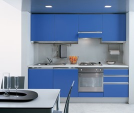 small kitchen design in blue