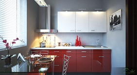 small kitchen design white with red