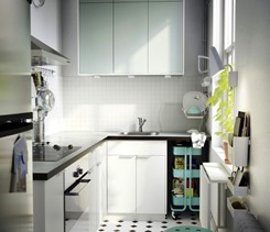 small kitchen design with two tone combination