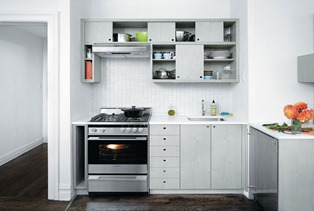 small kitchet cabinets with slidng doors