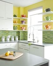 sunny kitchen with green yellow tiles
