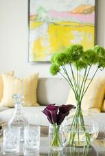 sunshine interior decorations with yellow and green accents