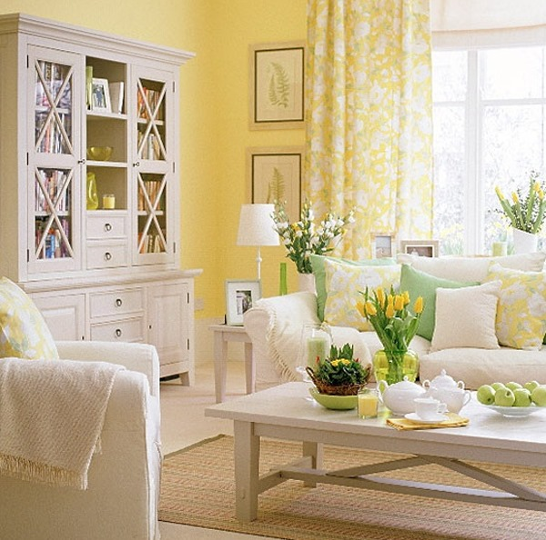 How to use sunshine yellow color in interior design for Interior design living room yellow
