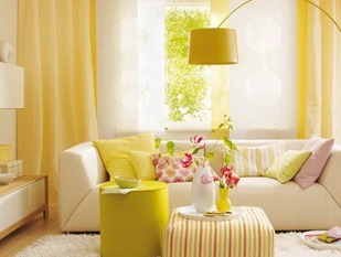 sunshine yellow color living room