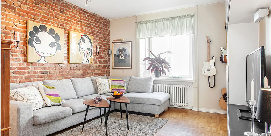 swedish apartment with brick wall