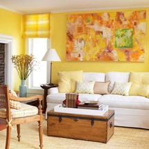 white yellow and orange colors in living room