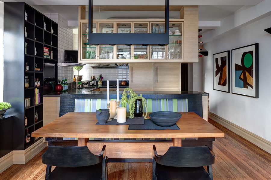 wood kitchen design with black accents for apartment in New York City