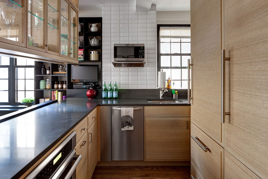 wooden kitchen designs for apartment with black green accents