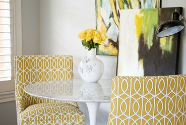 yellow flowers in living room