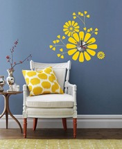 yellow wall vinyl stickers clock for home interior