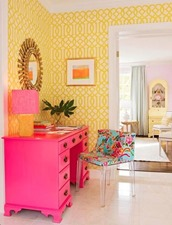 yellow with pink interior