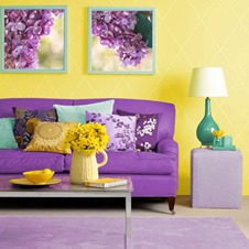 yellow with purple living room interior