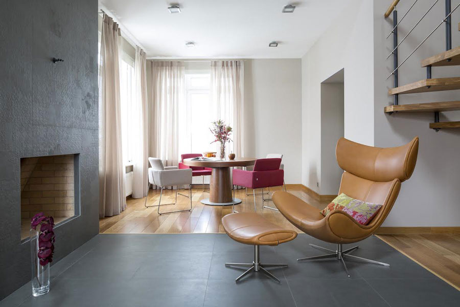 fusion style interior design for two story house in moscow