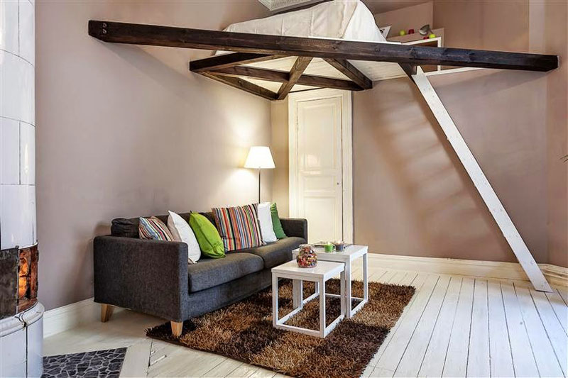 Very small apartment design with clever loft solution Small loft apartment design