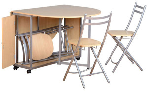 compact extending dining table with 4 folding chairs
