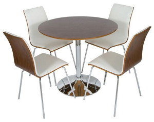 Contemporary Round Dining Set With 4 Comfortable Seats