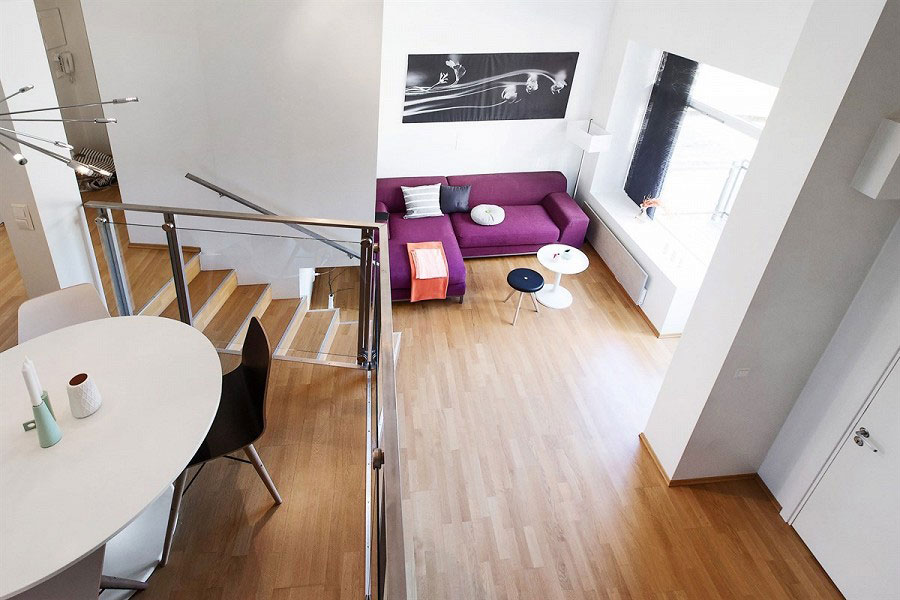 modern norwegian interior design for two level apartment in oslo