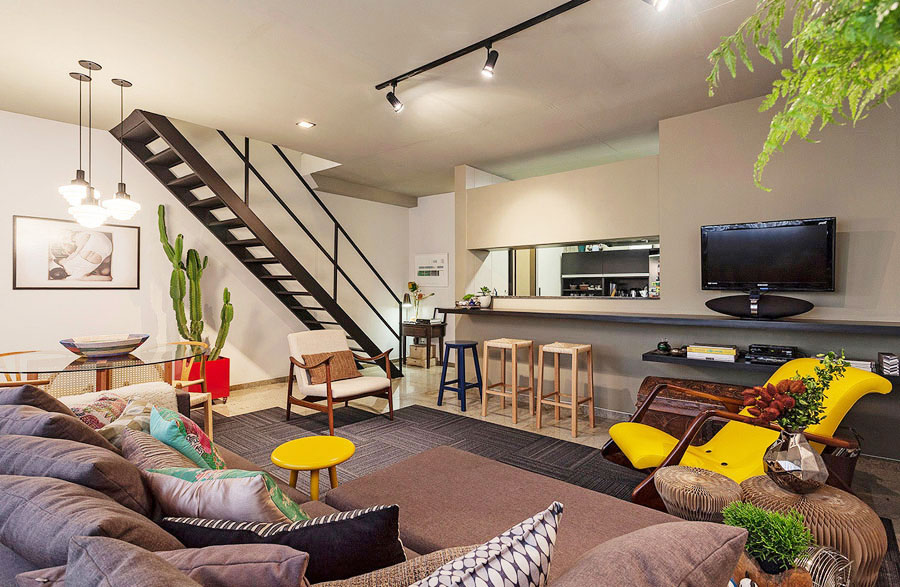 Small Loft Apartment with Bold Yellow Accents in Savassi, Brazil