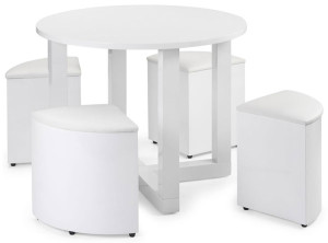 small round dining table with 4 seats in white
