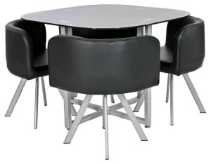 space saver dining table set with black glass and 4 faux leather chairs