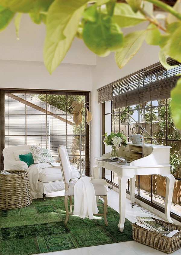 interior design for holiday home with touches of green
