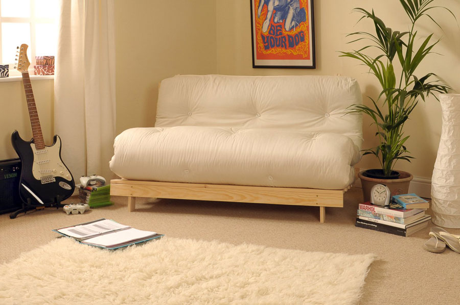 1 Clic Futon With Wooden Frame And Tufted Mattress Small Compact Easy To Use Sofa Bed