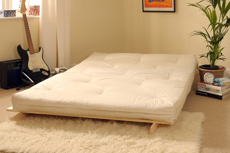 1.1. Classic Futon With Wooden Frame And Tufted Mattress