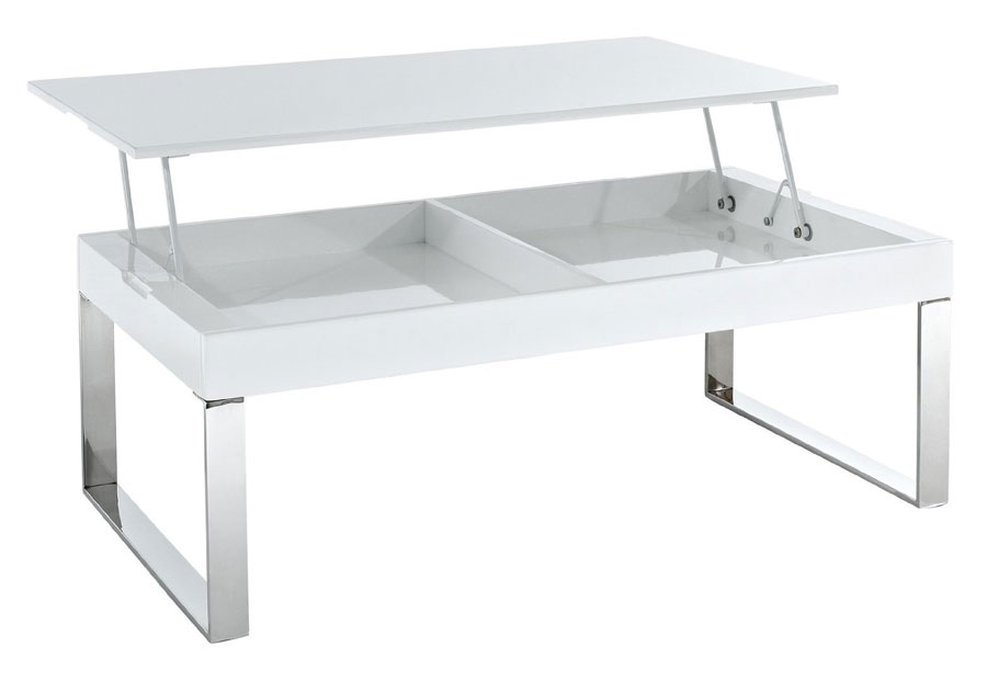 contemporary glass polished chrome lift-top coffee table