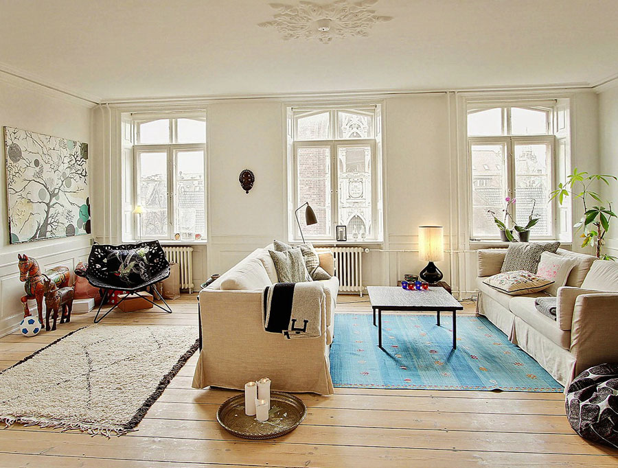 white interior design with colorful accents in scandinavian style