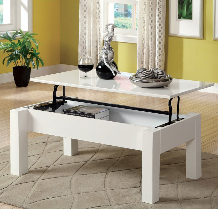 Nice White Lacquer Lift Top Storage Coffee Table