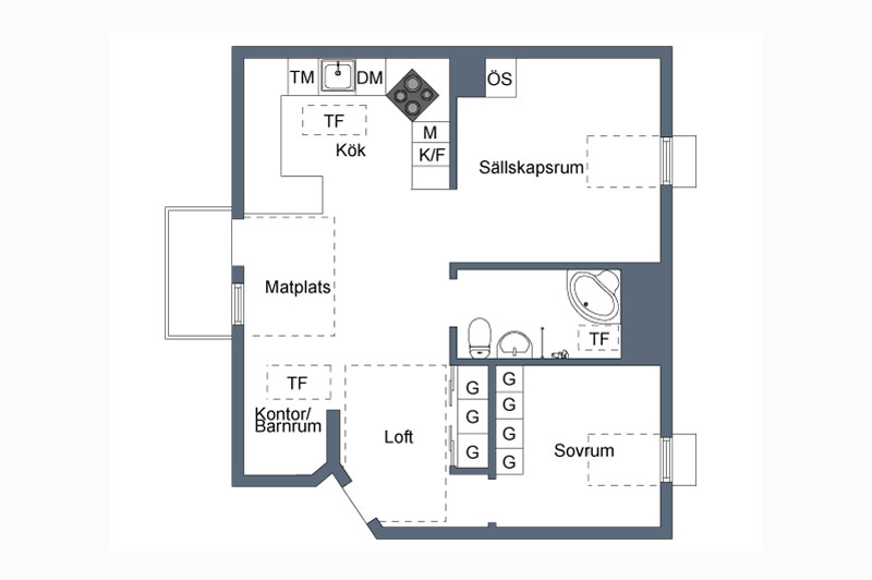 floor plan for scandinavian style loft apartment