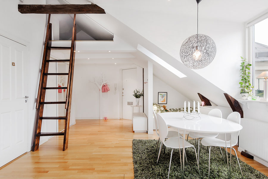 interior design for loft apartment in white