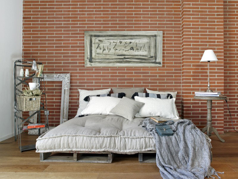 interior design with brick wall
