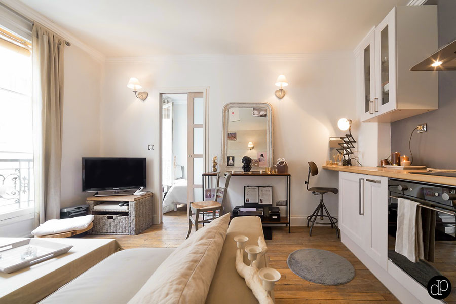 Paris Interior Design functional and small apartment interior design in muted colors, paris