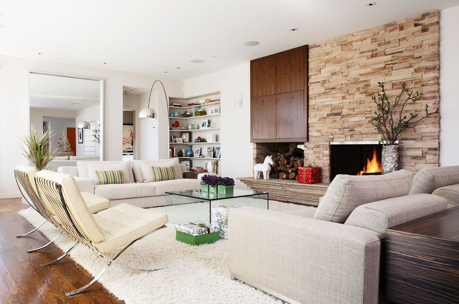 Attractive Interior Design With Fireplace