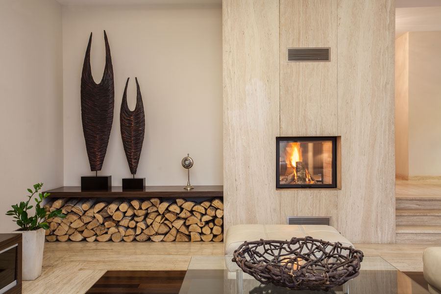 interior design with fireplace