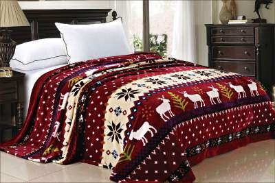Adorable Burgundy Christmas Deer Flannel Fleece
