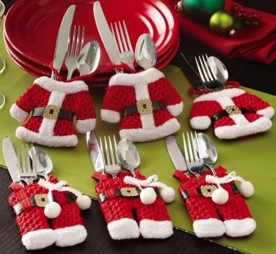 Christmas Silverware Holder Pockets