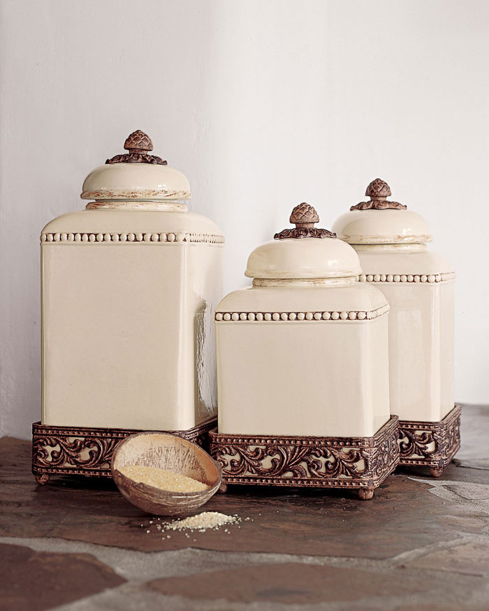 Designer Tea Coffee Sugar Storage Jars >> Decorative Kitchen Canisters and Jars