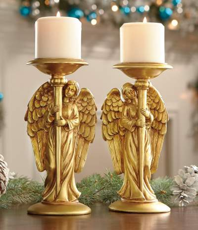 Two Gold Angels - Candle Holders