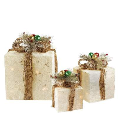 3 Sparkling Sisal Gift Boxes