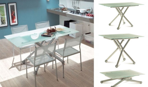 glass coffee table converts to dining table
