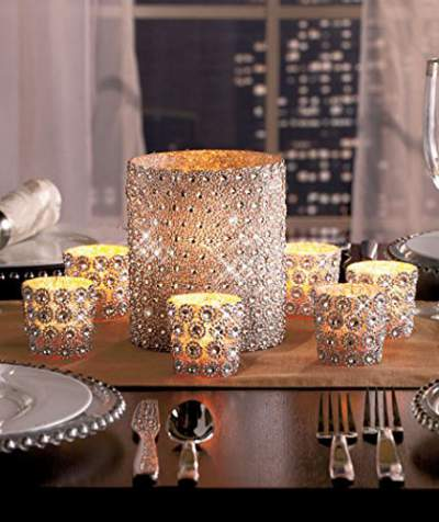 Set of 7 Sparkling Silver Candle Holders